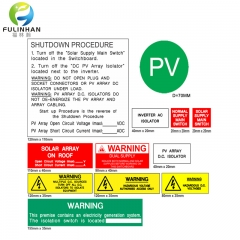 Engraved Warning Label kits for Solar Power System