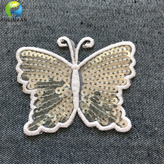 Embroidered Butterfly Sequin Applique Patches