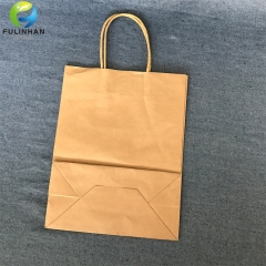 Custom brown kraft paper bag with handle