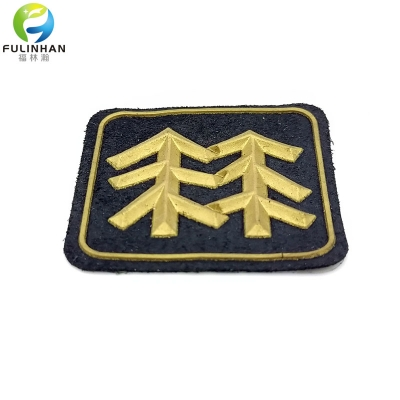Custom Gold Tree Rubber Microfiber Patches